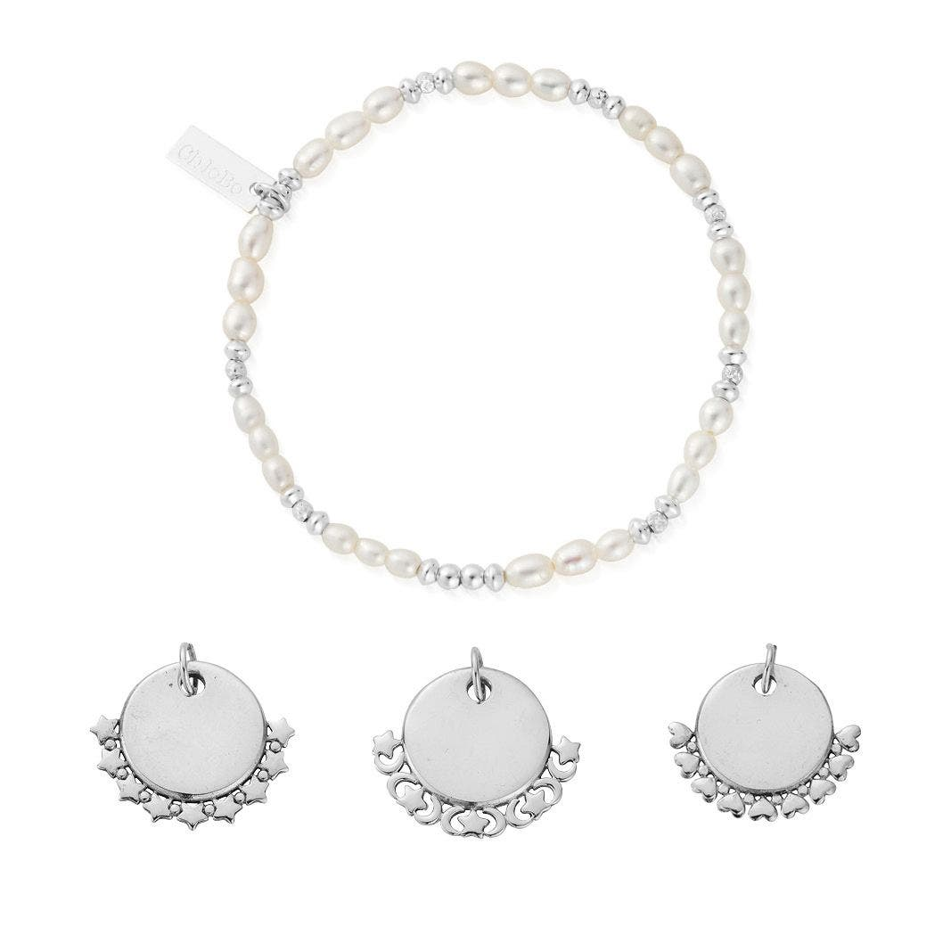 Personalised Pearl Sparkle Disc Bracelet